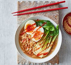 Serves 1 Ingredients pack instant noodles (look for an Asian brand with a flavour like sesame) 2 spring onions, finely chopped ½ head pak choi 1 egg 1 tsp sesame seeds chilli sauce, to serve Fast Healthy Meals, Healthy Fruits, Easy Healthy Recipes, Veggie Recipes, Vegetarian Recipes, Vegetarian Dinners, Healthy Food, Vegetarian Ramen, Vegetarian Cabbage