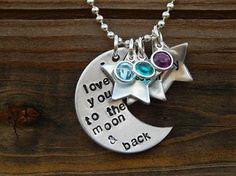 Moon and Back with names and stones by JustAnotherPastime on Etsy, $22.00