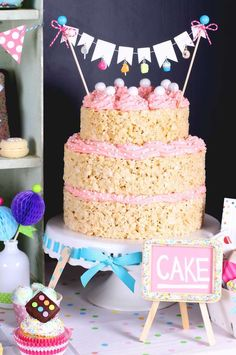 Rice Krispie cake at a sprinkles birthday party! See more party planning ideas at CatchMyParty.com!