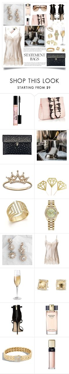 """""""Statement bags"""" by linmari ❤ liked on Polyvore featuring Too Faced Cosmetics, Alexander McQueen, Bloomingdale's, Rolex, Cost Plus World Market, Gold Hawk, Wine Enthusiast, David Yurman, Massimo Matteo and Estée Lauder"""