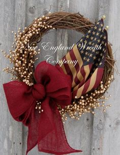 Americana Wreath Patriotic Wreath Fourth of by NewEnglandWreath, $129.00