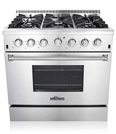 Thor Kitchen 36 Freestanding Professional Style Gas Range with 52 Cu Ft Oven 6 Burners Convection Fan Cast Iron Grates Blue Porcelain Oven Interior In Stainless Steel ** You can find more details by visiting the image link. (This is an affiliate link)