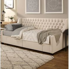 Darby Home Co Aron Twin Upholstery Storage Twin Daybed Color: Ivory Twin Daybed With Trundle, Furniture, Daybed Room, Daybed With Storage, Home, Mattress Sizes, Full Daybed With Trundle, Home Decor, Room