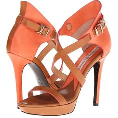 Vivienne Westwood Colorblock Strappy Heels (Apricot) High Heels (€305) ❤ liked on Polyvore featuring shoes, sandals, orange, leather shoes, platform sandals, sexy shoes, high heel sandals and high heel platform sandals