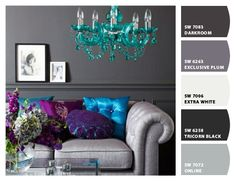 Exclusive Plum by Sherwin-Williams.  Love the bright jewel tones of turquoise and purples with it.
