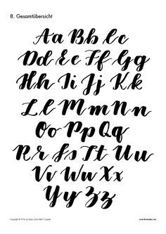 Brush Lettering Guide (Gross) - Frau Hölle Studio The Brush Lettering Guide for Beginners! Do you like the brush lettering font style? Do you want to write text yourself with a brush and decorat Alphabet A, Hand Lettering Alphabet, Calligraphy Alphabet, Graffiti Alphabet, Calligraphy Fonts, Islamic Calligraphy, Script Fonts, Lettering Brush, Lettering Guide