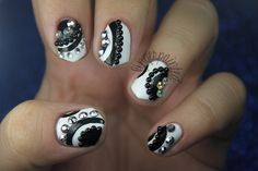 Gem and studs nail art black and white nails nail studs pretty nails nail art nail ideas nail designs gems