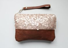 Light gold sequin clutch wristlet zipper pouch by Amayahandmade, $28.00