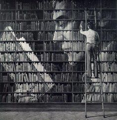 Book art - really cool!  What vision and imagination to arrange books this way!!!