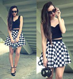 Handmade Skirt, Handmade Top, H Bag, Go Jane Shoes  #fashion #toptof