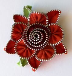 Burnt Orange and Cranberry Floral Brooch / Zipper by ZipPinning, $35.00