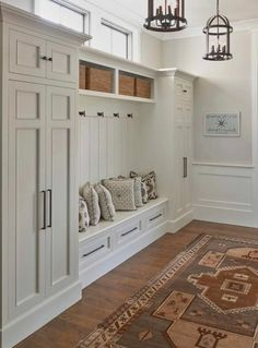 Home Remodeling Mudroom Kitchen cabinets to ceiling diy built ins 67 ideas Mudroom Laundry Room, Closet Mudroom, Closet Doors, Shoe Closet, Garage Closet, Entryway Closet, Foyer Lighting, Lighting Ideas, Foyer Light Fixtures
