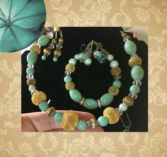 Turquoise And Gold Trendy Jewelry Set, Mothers Day Gift, Handmade Gift, For Her, Women, Turquoise Accessories, Turquoise Fashion by Creationlily on Etsy https://www.etsy.com/listing/218149270/turquoise-and-gold-trendy-jewelry-set