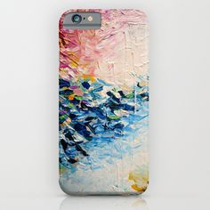 """""""Paradise Dreaming"""" by Ebi Emporium on Society 6, Colorful Whimsical Fine Art Textural Abstract Acrylic Painting Modern Brushstrokes Pink Blue Nature Landscape Artwork Tech Device iPhone iPod Samsung Case #abstract #art #fineart #pastel #colorful #print #iPhone #iPod #case #cover #tech #device #textural"""