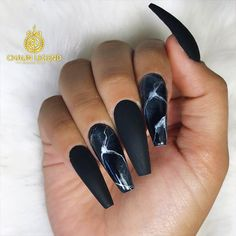 18 Trendy Black Nails Designs for Dark Colors Lovers ★ Black Nails with Marble Designs Picture 3 ★ See more: http://glaminati.com/black-nails-designs/ #blacknails #blacknailsdesigns