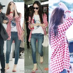 Krystal's Airport Fashion. A graphic tee under a red-checkered shirt paired with skinny jeans and flats.