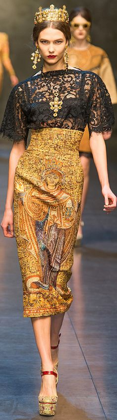 Dolce & Gabbana Fall 2013 RTW - Runway Photos - Fashion Week - Runway, Fashion Shows and Collections - Vogue Haute Couture Style, Couture Mode, Couture Fashion, Runway Fashion, Womens Fashion, Milan Fashion, Fashion 2014, Fashion Trends, Look Fashion