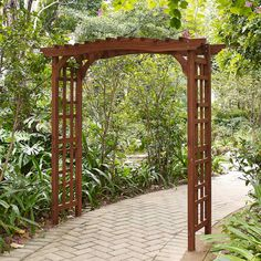 """$279 (77"""" wide) Coral Coast Halstead Wood Garden Arbor - The Coral Coast Halstead Wood Garden Arbor creates a stunning backdrop for all your climbing vines and flowers. Its Craftsman-inspired sides and curvi..."""