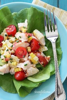 I could eat this all summer! A light summer salad, made with sweet corn, grape tomatoes, garden herbs and chilled steamed lobster