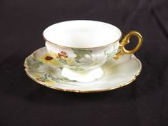 Hutschenreuther Selb LHS teacup saucer vtg flowers hand painted yellow gold #Hutschenreuther