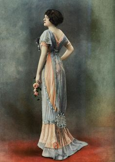 Evening gown by Bernard, photo by Félix, Les Modes May 1910.