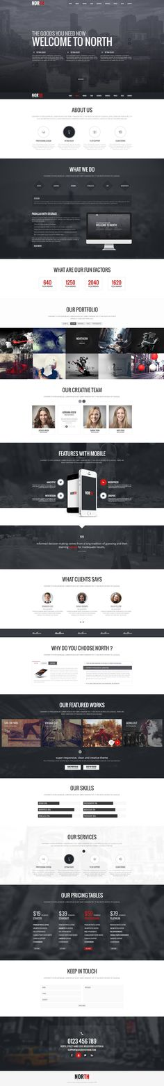 North One Page PSD Template