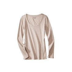 Women's Ultimate Long Sleeve Scoop Tee (73 CNY) ❤ liked on Polyvore featuring tops, t-shirts, long sleeves, oatmeal heather, shirts, tees, women's clothing, bleach t shirt, long shirts and t shirt