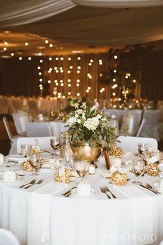 Copper and market light wedding reception by Panache Events in Negaunee, MI.