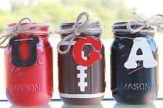 University of Georgia Collegiate Football Painted/Distressed Mason Jars by PerfectlyCreatedForU on Etsy https://www.etsy.com/listing/204070295/university-of-georgia-collegiate