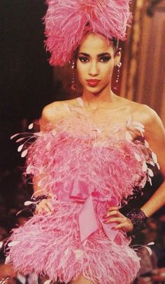 Yves Saint Laurent Haute Couture A/W 1987-88 Pink feather strapless mini dress with a satin bow belt and a matching hat. L'officiel No.734, September 1987