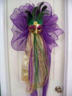 Mardi Gras Mask Mesh Party Door Wreath Bow Tree Topper | eBay
