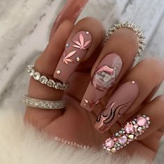 In search for some nail designs and some ideas for your nails? Here is our set of must-try coffin acrylic nails for modern women. Weed Nails, Aycrlic Nails, Bling Nails, Swag Nails, Glitter Nails, Nail Nail, Stiletto Nails, Nail Polish, Cute Acrylic Nail Designs