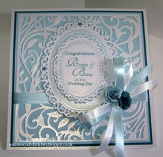 Wedding card using the Spellbinders Botanical Swirls Die with the Floral Ovals
