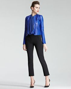 Laser-Cut Leather Jacket, Waterfall-Pleat Blouse & Cropped Jersey Pants by Giorgio Armani at Neiman Marcus.