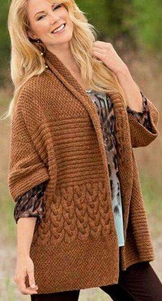 Find and save knitting and crochet schemas, simple recipes, and other ideas collected with love. Sweater Knitting Patterns, Knitted Poncho, Crochet Cardigan, Knit Patterns, Hand Knitting, Knit Crochet, Cardigans For Women, Jackets For Women, Knit Fashion