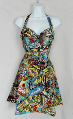 Custom Marvel Avengers comic book dress by CandiedStarfish on Etsy, $45.00