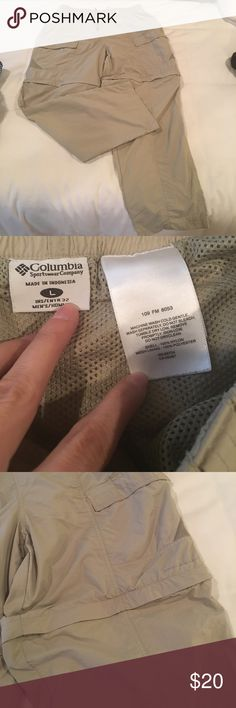 Columbia PFG men's fishing pants and shorts tan Great condition; can be zipped on for pants or off for shorts! Lightweight and breathable! Made for fishing and outdoors Columbia Pants
