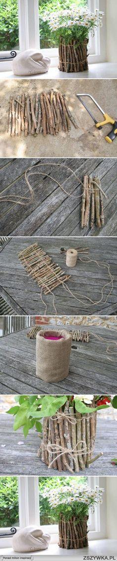 Easy idea to decorate a pot Idée simple de cache-pot pour Pâques... Essayer bois flotté