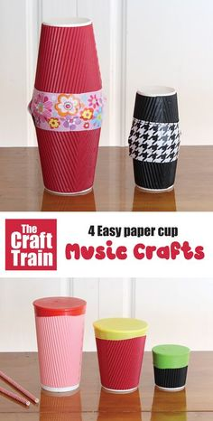 Paper cup music crafts for kids. Make a paper cup shaker, guitar, drum and chicken noise maker – full tutorial over on the blog! This is a great STEM project for kids which you could also turn into a STEM challenge by giving kids the materials and seeing what they can create on their own #STEMcraft #STEAM #papercup #papercupcrafts #musiccrafts #Kidscrafts #kidsactivities #diytoys #playmatters #craftsforkids #funkidscrafts Stem Projects For Kids, Easy Art Projects, Indoor Activities For Kids, Crafts For Kids To Make, Toddler Activities, Music Crafts Kids, Paper Cup Crafts, Noise Maker, Easy Arts And Crafts