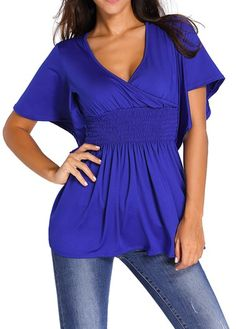 25e04df5 Royal Blue Butterfly Sleeve V Neck Smocked Babydoll Top Sale On  www.lulugal.com