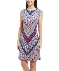 Look at this Blue & Orange Geometric Sheath Dress on #zulily today!