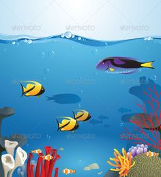 Sea landscape illustrating underwater life. Eps 8 and Ai CS 3 included.