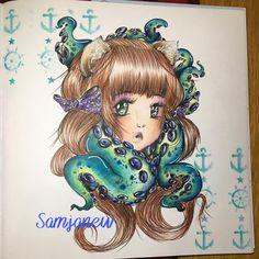 Manga Coloring Book, Mermaid Coloring Book, Adult Coloring, Coloring Books, Colouring, Manga Mermaid, Prismacolor, Sea Creatures, Camilla