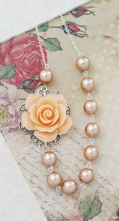 Peach Rose and Rose Gold Swarovski Pearls Romantic Necklace from EarringsNation Peach Weddings Peach + Rose Gold