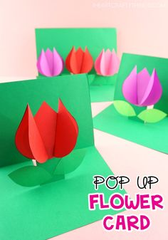 How to Make a Pop Up Flower Card - Easy Spring Tulip Craft for kids!