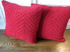 Red Knit Chevron Sweater Pillow Covers (Pair) 18x18