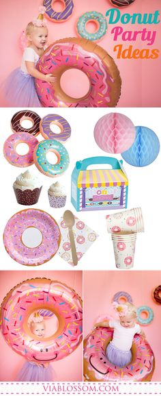 The sweetest Donut Party Ideas and party supplies for a fun Girl Birthday Party! Third Birthday Girl, 10th Birthday, Donut Birthday Parties, Birthday Ideas, Donut Party Supplies, Party Themes, Party Ideas, Partys, First Birthdays