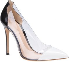 Love this: Black and White Leather and Pvc Pumps @Lyst