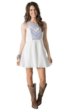 Flying Tomato Women's White with Blue Embroidery Racer Back Sleeveless Dress