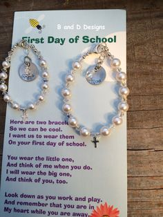Personalized First Day of School Mother/Daughter bracelets by BandDDesigns on Etsy